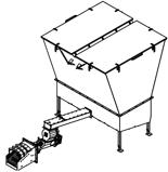 06652860 Automatyczny podajnik do spalania biomasy 10m3 400V 180kW, głowica: żeliwna (paliwo: trociny, wióry, zrębki, kora, brykiet, agrobrykiet, pellet, pestki owoców)