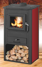 99650352 Piec wolnostojący 8-9kW, drzwi i góra z żeliwa na drewno i węgiel (kolor: czerwony)