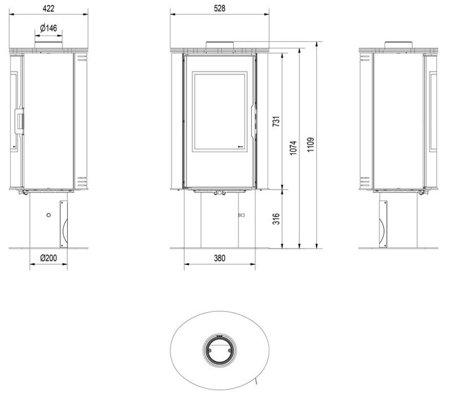 KONS Piec wolnostojący koza 8kW AB GLASS (z panelami kaflowymi - czerwony) - spełnia anty-smogowy EkoProjekt 30055006