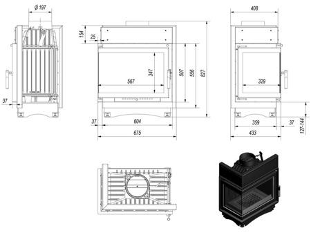 KONS Wkład kominkowy 8kW Maja BS (lewa boczna szyba bez szprosa) - spełnia anty-smogowy EkoProjekt 30040901